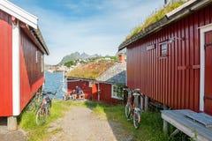 Cottage di Rorbu in Lofoten Fotografia Stock