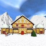 Cottage di Toon Santa illustrazione di stock