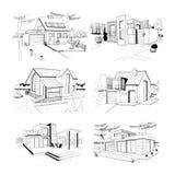 Cottage disegnato a mano case residenziali private moderne illustrazioni di schizzo messe Immagine Stock Libera da Diritti