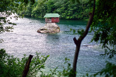 Cottage on the Drina. River, located near Bajina Basta, western Serbia royalty free stock photo