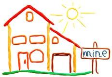 Cottage e sole del Plasticine royalty illustrazione gratis
