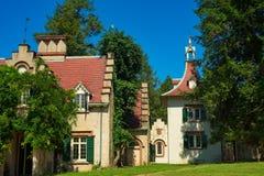 Cottage e torre del ` s di Washington Irving immagini stock libere da diritti