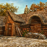 Cottage en bois avec des roses illustration stock