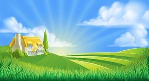 Cottage en Rolling Hills illustration libre de droits