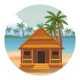 Cottage et palmier illustration stock