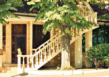 Cottage with external staircase Stock Photo