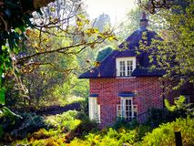 Forest cottage in autumn fantasy royalty free stock photography