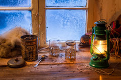 Cottage on a frozen day in winter Stock Photography
