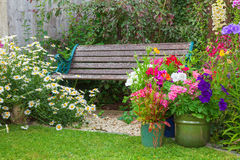Cottage garden with bench and containers full of flowers Stock Photography