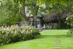 Flowering Cottage Garden and patio on hot summer d Royalty Free Stock Image