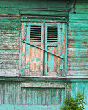 Cottage. Green window old Russian house (cottage Stock Photo
