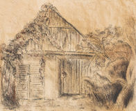 Cottage hand drawing and wild grapevine. Draving on old paper. Stock Photos