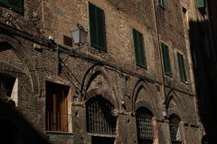 Cottage hidden in the shadows of the old town, Florence, Italy stock images