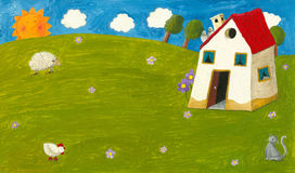 Cottage house. Acrylic lilustration of cottage house Royalty Free Stock Photography