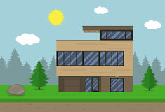 Cottage house building. Flat design style. Modern house. Vector Royalty Free Stock Photos