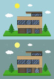 Cottage house building. Flat design style. Modern house. Vector Royalty Free Stock Images