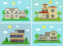 Cottage house building set. Flat design style. Traditional and modern house. Vector. Illustration Royalty Free Stock Photo