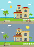 Cottage house building. Traditional house. Flat design style. Vector Stock Image