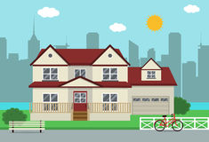 Cottage house building. Traditional house. Flat design style. Vector Royalty Free Stock Photo
