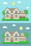 Cottage house building. Traditional house. Flat design style. Vector Royalty Free Stock Image