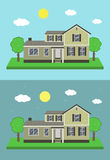 Cottage house building. Traditional house. Flat design style. Vector Royalty Free Stock Images