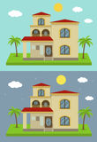 Cottage house building. Traditional house. Flat design style. Vector. Illustration Royalty Free Stock Image