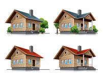 Cottage house cartoon icons. Two detailed wooden cottages vector icons in cartoon style Stock Photos