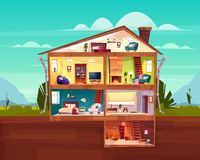 Cottage house cross section rooms plan vector royalty free illustration