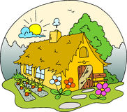 Cottage house drawing - colored. Stock Photo