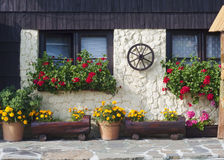 Cottage house with flowers Stock Photo