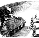 Cottage house and four horsemen Stock Photography
