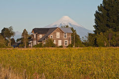 Cottage House and Osorno Volcano Stock Photography