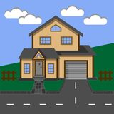 Cottage. House. Two-storey house with a garage. Vector illustration royalty free illustration