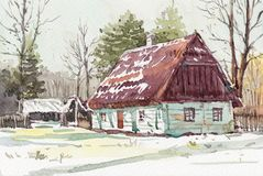 Free Cottage House Watercolor Painting At Country Side Stock Images - 142998864