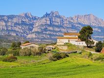 Cottage House in a way to Montserrat Mountain, Spain Stock Images
