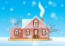 Cottage In The Winter Background. Stock Image