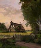 Cottage incantevole del paese illustrazione di stock