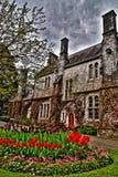 Cottage Ireland. Flowers stone village Stock Photo