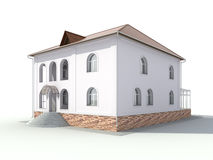 Cottage isolated 3d render Royalty Free Stock Photo