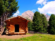 Cottage in Italian Dolomites in summer Royalty Free Stock Image