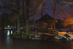 Cottage on the lake stock photos