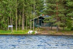 Cottage by the lake in rural Finland Royalty Free Stock Photography