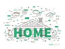Cottage lineare della casa, illustrazione piana del palazzo royalty illustrazione gratis