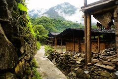 Cottage of the Lisu nationality. Yunnan Nationalities Cottage usually be built in tourism scenic spots with beautiful environment and long cultural history. Most Royalty Free Stock Image