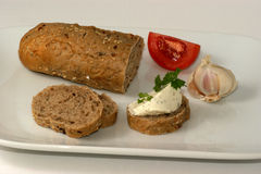 Cottage loaf with cottage cheese Royalty Free Stock Photos