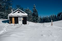 Cottage in low Tatras, winter nature royalty free stock images