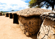 Cottage in the Masai camp in Kenya Stock Image