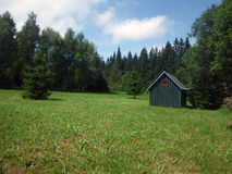 Cottage in the meadow. Wooden green cottage in the meadow stock image