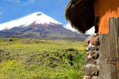 Cottage and mountain. Cotopaxi Volcano, South America - Ecuador Royalty Free Stock Photos