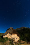 A cottage on the mountain. Night shot of a cottage on the mountain, Picos de Europa (Spain Stock Photography
